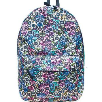 Colorful Bright Sugar Skull Day of the Dead Canvas School Backpack