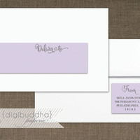 Lilac & Silver Glitter Envelope Wrap Address Label with Sparkly Silver Glitter Look Printable Glam PDF Wraparound DIY Address Labels - Mila