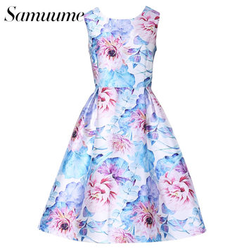 Samuume Elegant Lotus Floral Print Embroidery Tank Dress Women 2017 O-Neck Empire Pleated Dress Vestidos Free Shipping A1611035