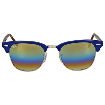 Ray Ban Clubmaster Gold Rainbow Flash Mens Sunglasses RB3016 1223C4 51
