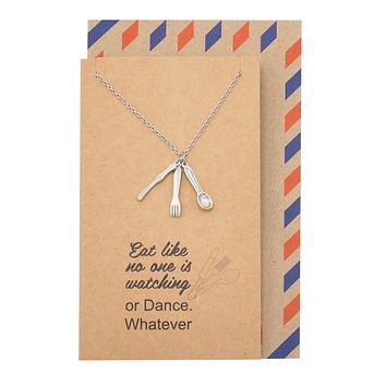 Zia Gifts for Mom Friends Chefs Fork Spoon Jewelry Charm Necklace and Greeting Card