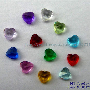 12pcs mix color 4mm birthstone heart floating charm for memory love locket as Mom Dad sister brother grandma gift