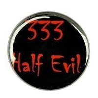 333 Half Evil Button Pin by theangryrobot on Etsy