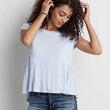 AEO Soft & Sexy Peplum T-Shirt, Blue