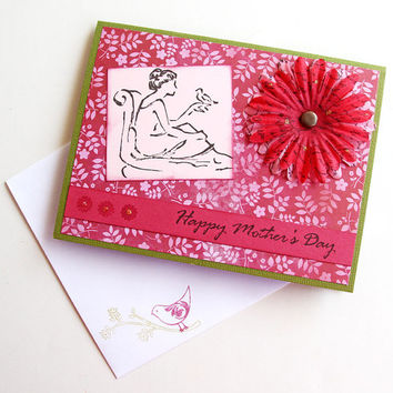 Mother's Day Card in Magenta, Lounging Woman with Bird and Big Flower, Pink and Green, Happy Mother's Day, Handmade Greeting Card