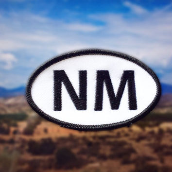 "New Mexico NM Patch - Iron or Sew On - 2"" x 3.5"" - Embroidered Oval Appliqué - State - Black White Hat Bag Accessory Handmade USA"