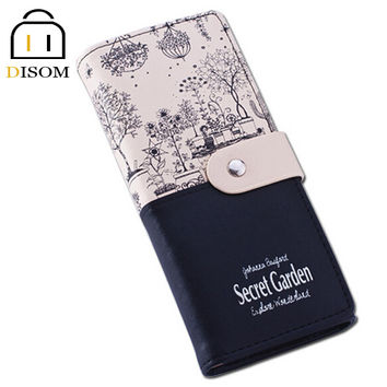 Long Leather Wallets Fashion 2 fold Floral Print Brand Design Casual Lady's Purse Women's Clutch