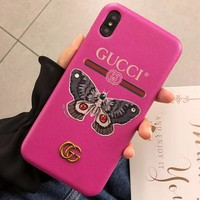 GUCCI Tide brand leather hard shell iPhoneXsMax mobile phone case cover Rose red