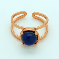 Round 8mm Mood Ring Copper Plated Brass Setting, Adjustable
