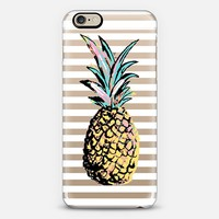 Pastel Party Pineapple White Stripes Transparent iPhone 6 case by Organic Saturation | Casetify