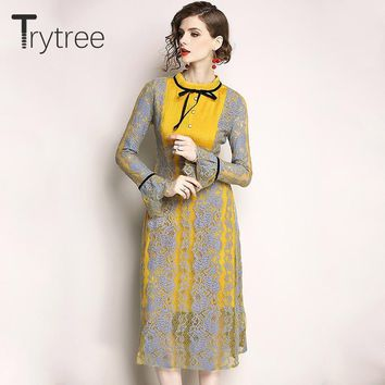 Trytree Spring Summer Dress Vintage Lace Elegant women Party Butterfly Sleeve dresses A-Line Mid-calf Empire Casual Dress