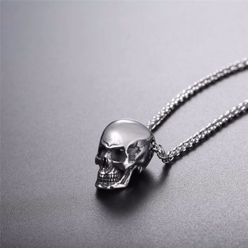 Stainless Steel Gothic Biker Skull Pendant Necklace