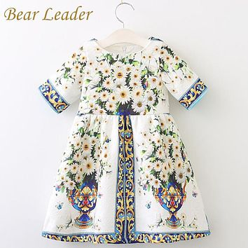 Bear Leader Girls Dress Spring Style 2018 Brand Princess Dresses European and American Style Flowers Printing Children Clothing