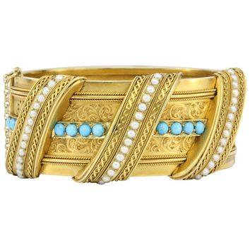 Victorian Gold Persian Turquoise and Seed Pearl Pierced Bangle Bracelet