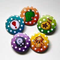 1.5 Inch Animal Crossing Villager's Items Buttons - 5 Button Set