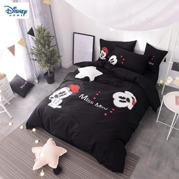Cool romantic mickey and minnie beddings set queen size bed sheets for kids couple wedding bedroom decor king duvet cover full linensAT_93_12