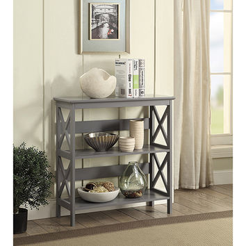Convenience Concepts Oxford 3 Tier Bookcase, Gray 203030gy | Bellacor