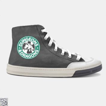 Starbucks Parody Mashup, Dragon And Dungeon Skate Shoe