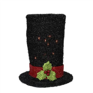"""9"""" Lighted Black Tinsel Snowman Top Hat Christmas Tree Topper - Clear Lights"""