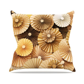 "Heidi Jennings ""Caramel Latte"" Yellow Gold Outdoor Throw Pillow"
