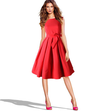 LANLAN Red Black Audrey Hepburn Style 50s rockabilly Dress 2016 New Summer Dress Sleeveless Bow Sash Women Vintage Retro Dresses