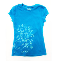 Girls light blue t-shirt with BLEACHED hEaRts and StarS pattern, child's size small
