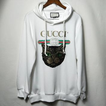 """""""Gucci"""" Woman Leisure Fashion Wild Letter Sequin Cat Printing  Cotton Hooded Sweatshirt Loose Long Sleeve Tops"""