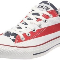 Converse Womens Chuck Taylor All Star American Flag Ox White/Blue/Red Sneaker - 7.5 Men - 9.5 Women