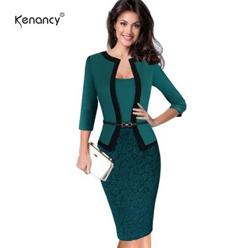 Kenancy Womens Autumn Summer Retro Faux Jacket One-Piece Polka Dot Contrast Patchwork Wear To Work Office Business Sheath Dress