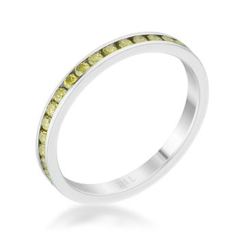 Teresa Peridot Green Silver Eternity Stackable Ring | 1ct | Cubic Zirconia | Stainless Steel
