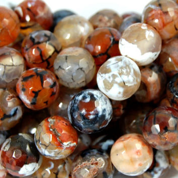 Agate 10mm Mottled Peach and Rusty Brown faceted round -15 inch strand
