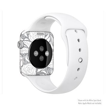 The Gray Floral Pattern V3 Full-Body Skin Set for the Apple Watch