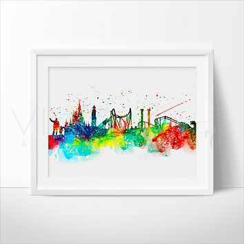 Universal Studios, Disney World Skyline Watercolor Art Print