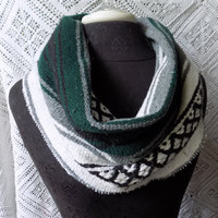 Green and Grey Mexican Blanket Small Cowl Scarf- Free Shipping to Continental US
