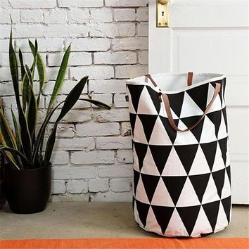 Zakka Canvas Laundry Basket Foldable Clothes Organizer Storage Bags Kid Toys Storage Baskets For Children Room Sundries Box