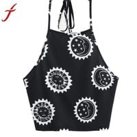 Women's  T-Shirt Summer New Sun Moon Printing Sexy Sleeveless Halter neck Tank Tops Crop Backless Vest cropped
