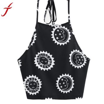 Womens  T-Shirt Summer New Sun Moon Printing Sexy Sleeveless Halter neck Tank Tops Crop Backless Vest cropped feminino
