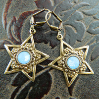 STAR SPELLS -- aged brass-- air blue opal Swarovski Crystal Earrings by Crow Haven Road