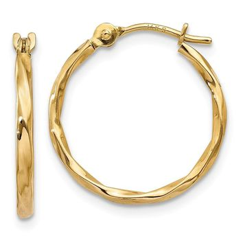 14k Gold 13 mm Twist Hoop Earrings