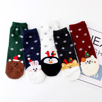 Animal Bear Rabbit Snow Christmas Tree Tube Socks Funny Crazy Cool Novelty Cute Fun Funky Colorful