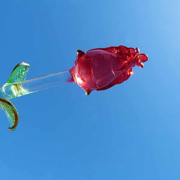 Hand Blown 17in Clear ALL Glass Long Stem Red Rose Flower Art Glass Green Glass Leaves Hand Painted Gold Detailing Figurine Blooming Gift