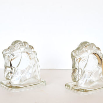 Vintage Horse Bookends Glass Horse Head Bookends 1950s Federal Glass Company Horse Head Bookends Library Décor Office Accessories