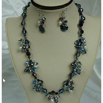 Ocean Seagulls Pearl Necklace and Earrings F218