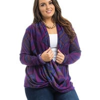 Purple Twist Print Plus Size Top