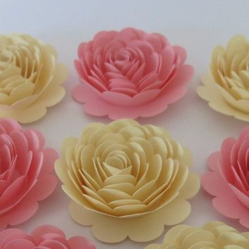 "Pink and Ivory roses, set of 6, Shabby Baby shower decor, 3"" paper flowers, princess theme birthday party decorations"