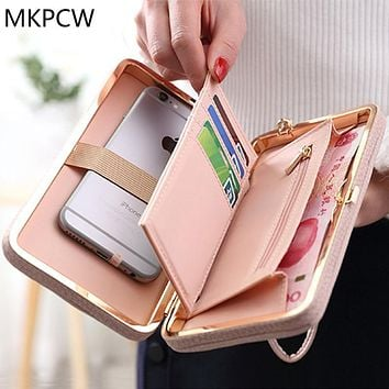 Women Casual Fashion Long Wallet Bow Fresh Luxury Card Money Phone Holder Large Capacity Purse Ladies Lovely Day Clutch Bag