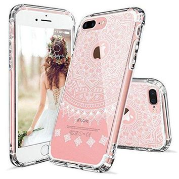 CREYV2S iPhone 7 Plus Case, MOSNOVO White Henna Mandala Scratch resistant Case with Transparent Hard Plastic Back Case and Flexible TPU Bumper Case Cover for iPhone 7 Plus (2016) - Clear