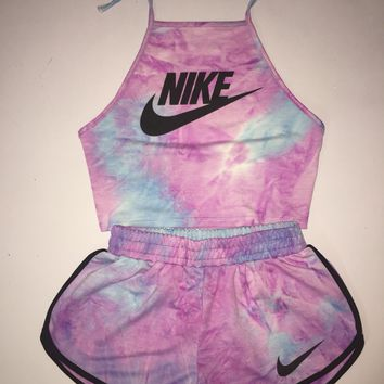 NIKE  Two pieces of casual tie dye sling suit