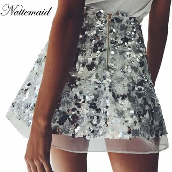 2016 Fashion Brand women sequins skirts Gold&Sliver color skirt Vintage High waist mini A-line short Bottoms Free shipping