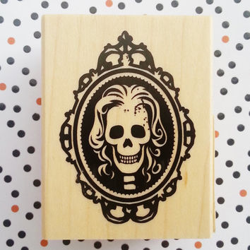 Halloween stamp, skeleton, wooden stamp, spooky, steampunk, inkadinkado,ready to ship, scrapbooking stamp, envelope, card stamp, party stamp